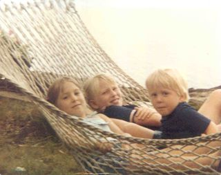 Three kids in hammock
