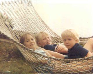 Three kids in hammock