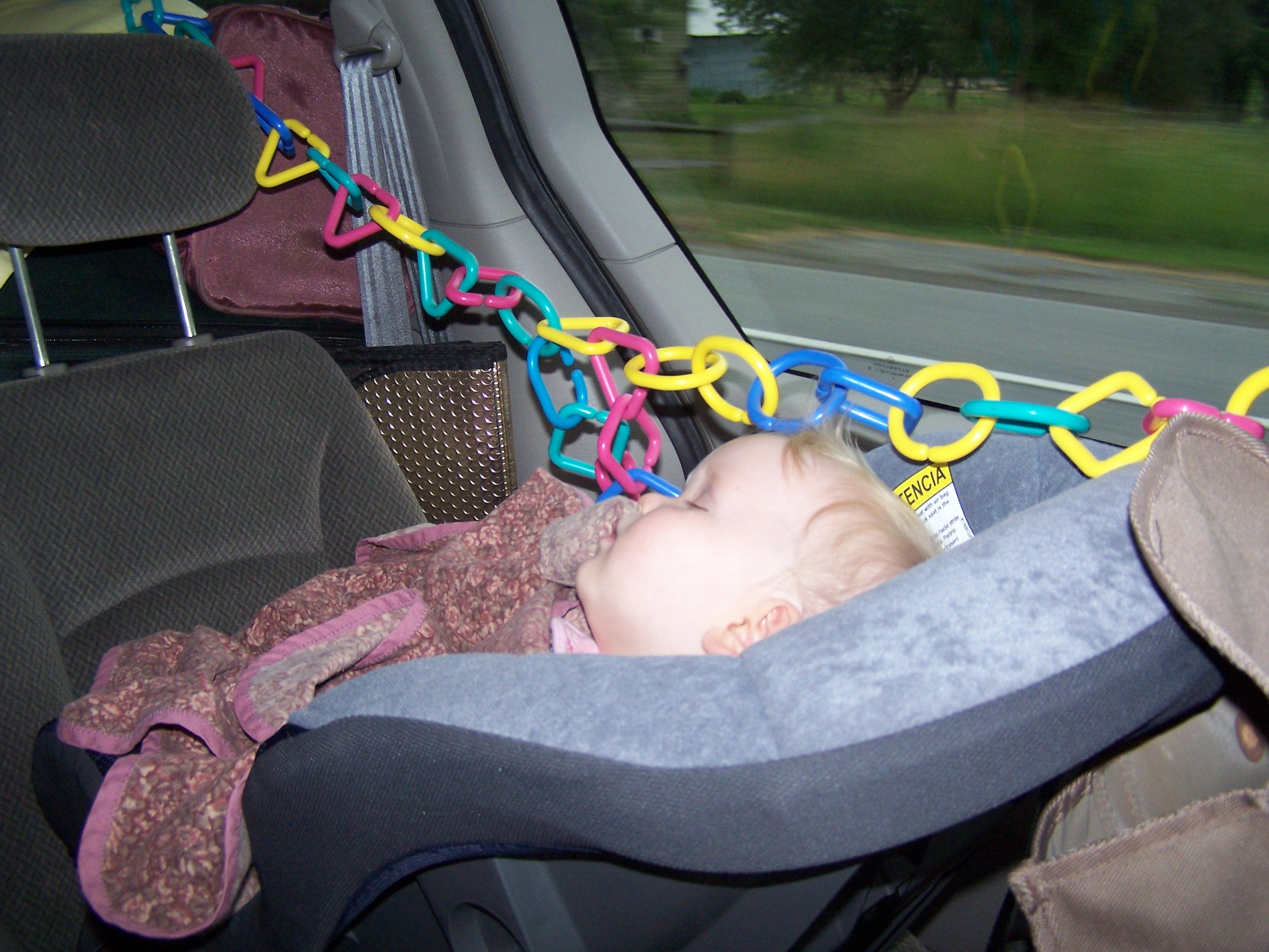 Using Some Play Links He Devised A Contraption That Hung Over The Car Seat From This We Of Pumpkins Favorite Toys Like